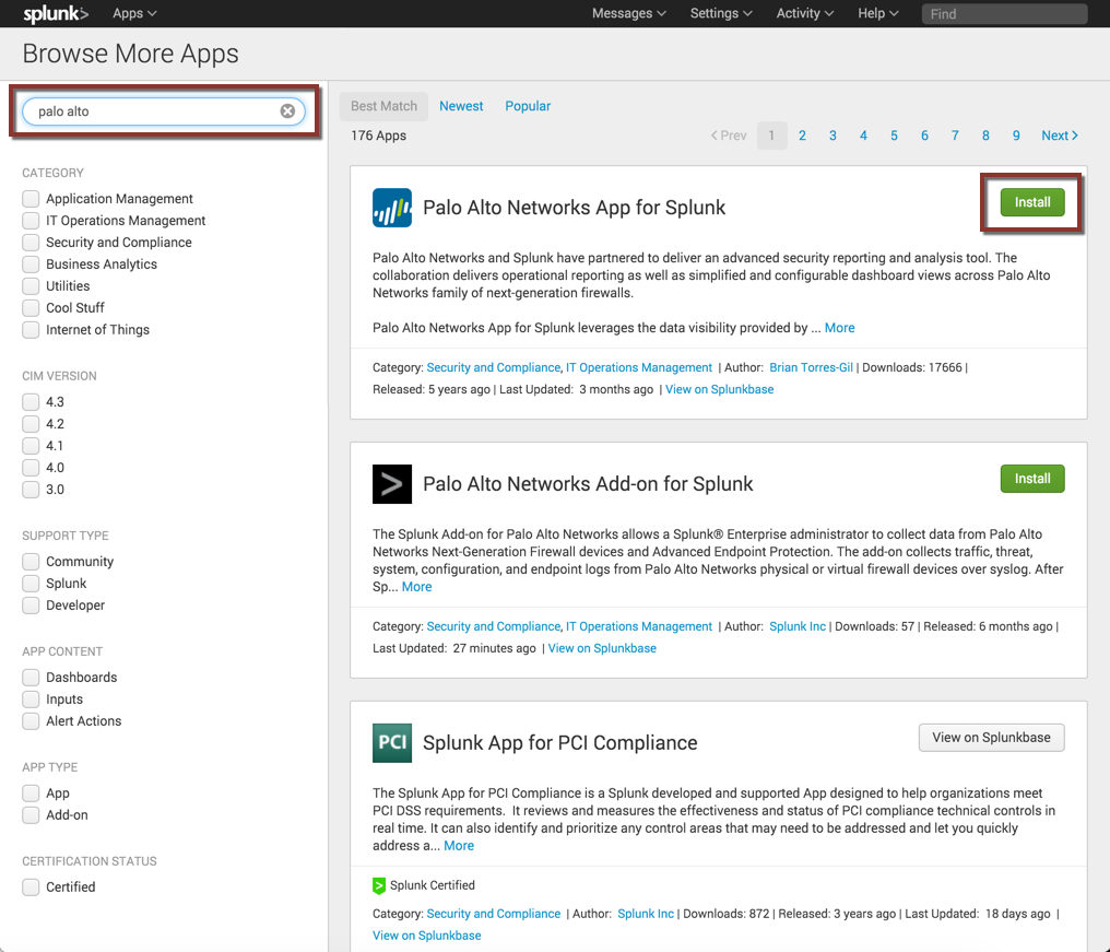 Downloading the App and Add-on from within Splunk Enterprise.